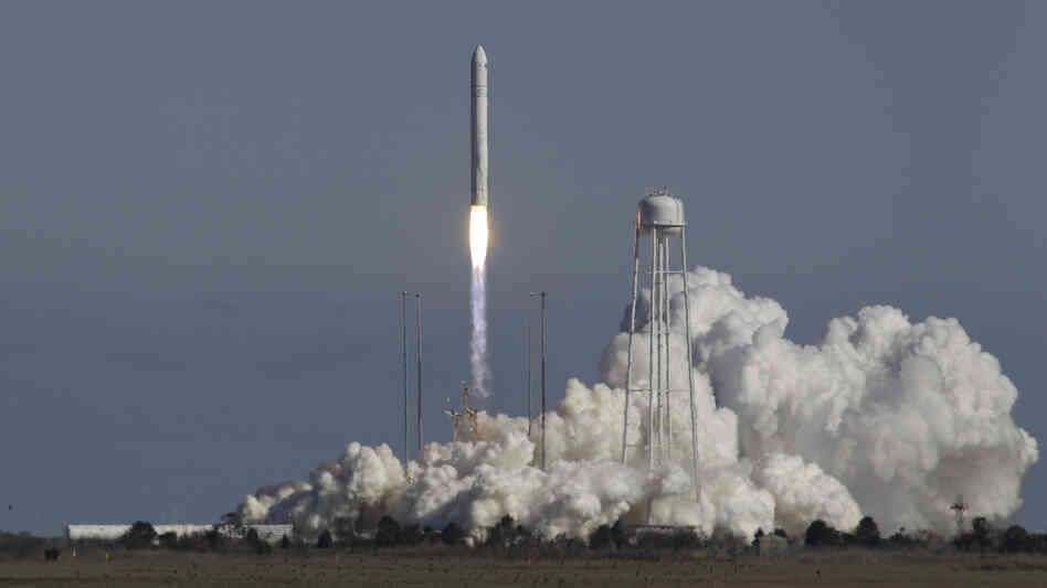 The Antares rocket lifts off from the launchpad