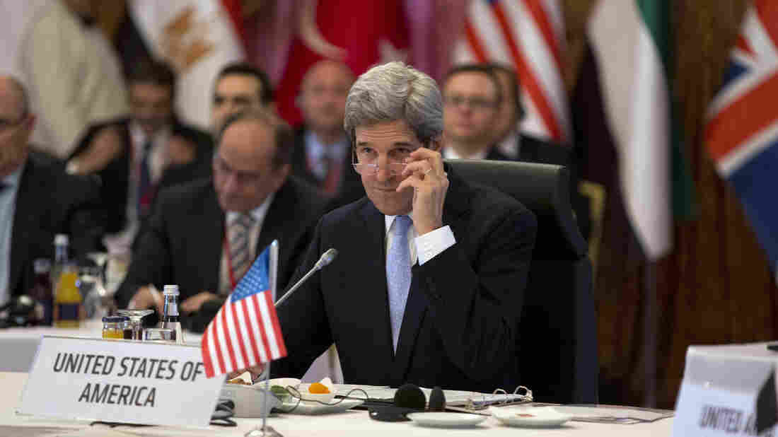 "U.S. Secretary of State John Kerry listens in during a ""Friends of Syria"" group meeting hosted on Saturday in Istanbul, Turkey."