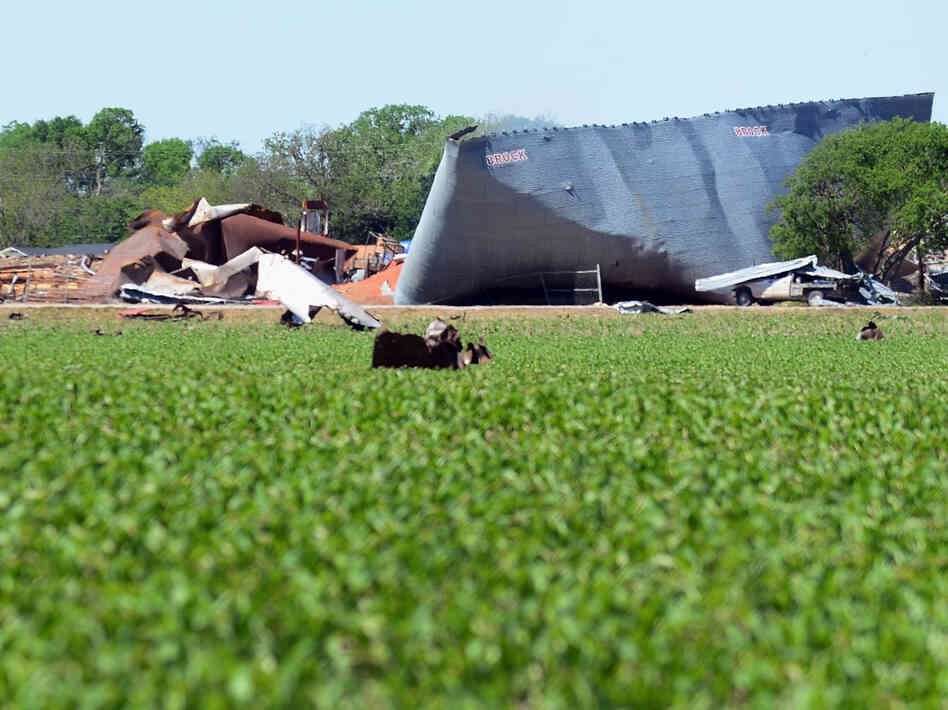 A view of the devastation from the fertilizer plant blast on Wednesday in We