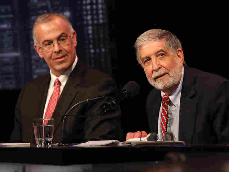 David Brooks (left) and Mickey Edwards argue in favor of the Republican Party seizing the center in an Intelligence Squared U.S. debate.