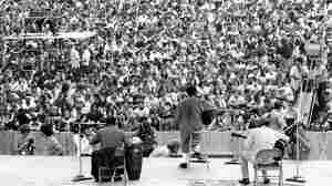 The crowd at Richie Havens' Woodstock-opening set on Aug. 15, 1969.