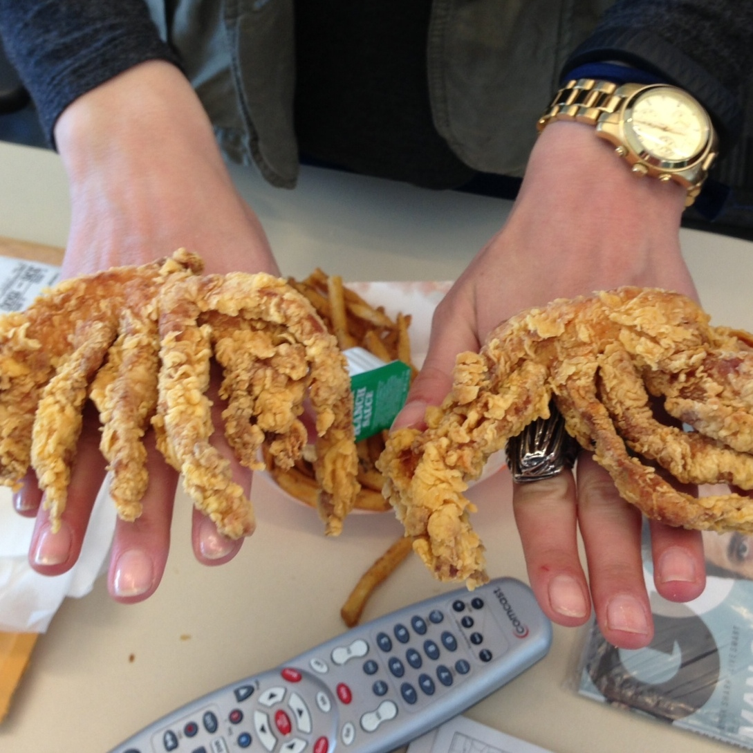 Try and guess which parts are Eva's hands, and which parts are the Rip'n Chick'n!