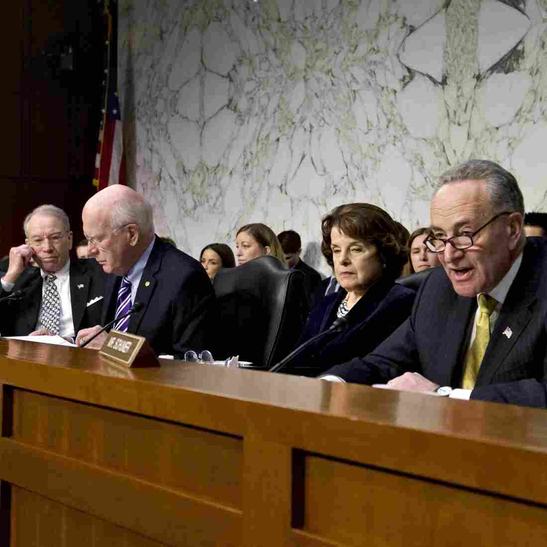 Sen. Chuck Schumer, D-N.Y. (right), talks during a hearing at which he angered Sen. Chuck Grassley, R-Iowa (far left). Grassley thought Schumer was accusing him of using the Boston bombings as an excuse to slow or kill the immigration overhaul.