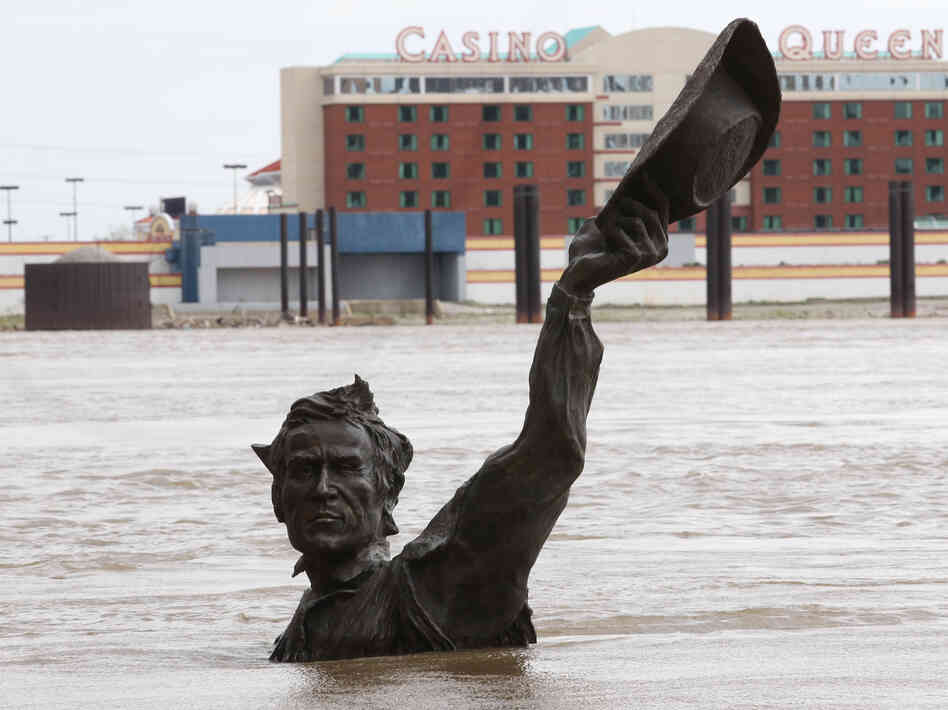 As the Mississippi River has risen in St. Louis, the city's Lewis and Clark statue has — as often happens in the spring — been part