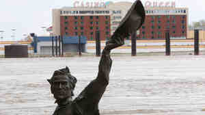 As the Mississippi River has risen in St. Louis, the city's Lewis and Clark statue has — as often happens in the spring — been partially submerged.