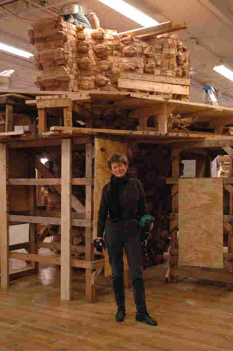 Ursula von Rydingsvard works massive blocks of cedar into sculptures, like Czara z Babelkami, pictured here.