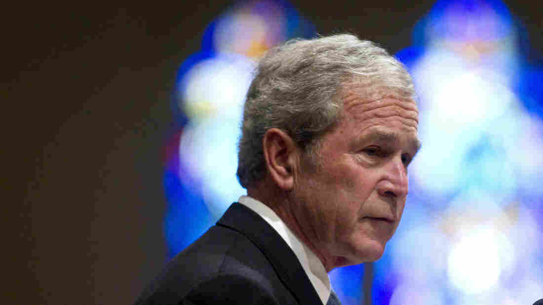 Former President George W. Bush gives a tribute for Van Cliburn at his March 3 funeral in Fort Worth, Texas. This week, Bush's presidential library will open in Dallas.