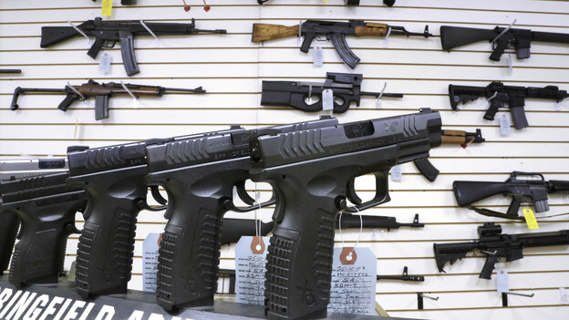 Assault weapons and hand guns for sale. (AP)