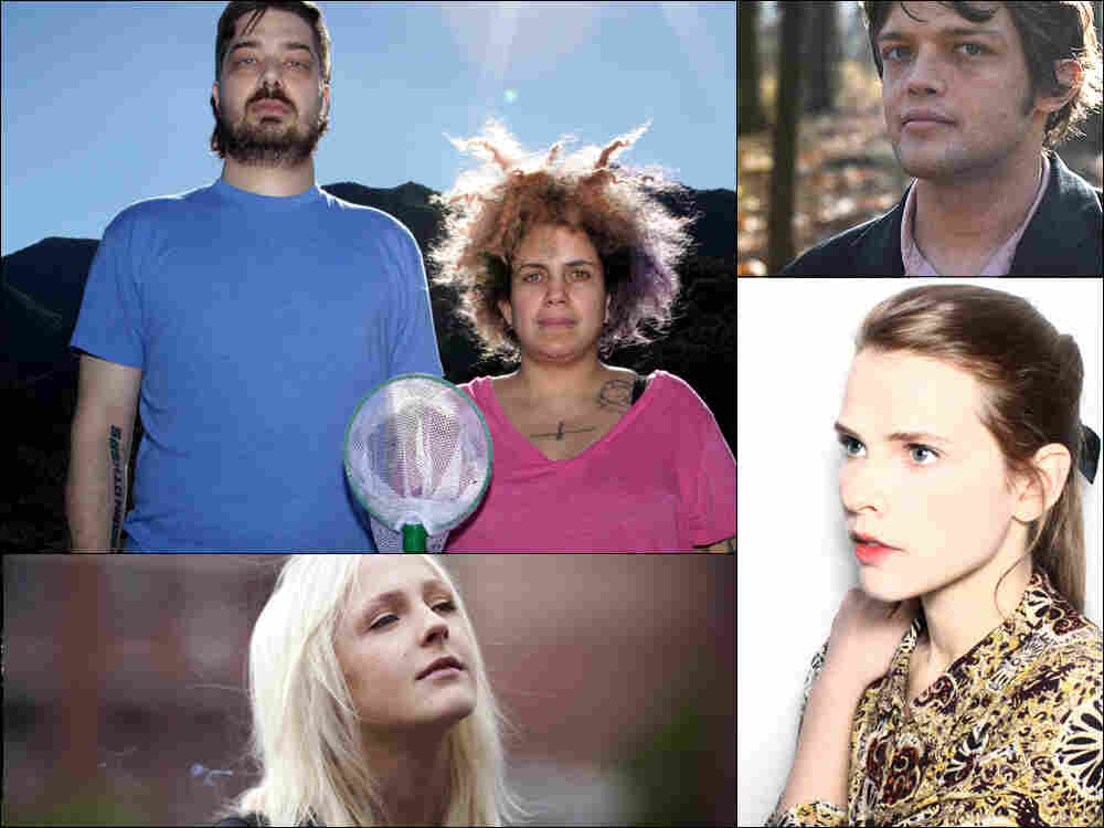 Clockwise from upper left: Aesop Rock and Kimya Dawson of The Uncluded, guitarist William Tyler, singer Cassandra Jenkins and Laura Marling