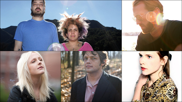 Clockwise from upper left: Aesop Rock and Kimya Dawson of The Uncluded, guitarist William Tyler, singer Cassandra Jenkins and Laura Marling (Courtesy of the artists)