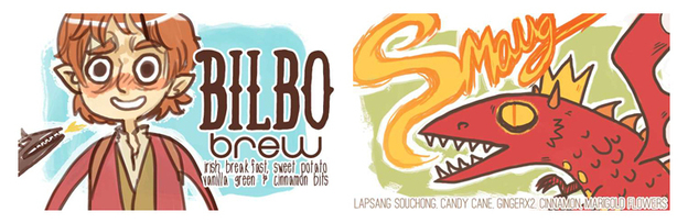 "McGee calls ""Bilbow Brew"" — inspired by The Hobbit -- her current favorite fandom blend. It combines Irish breakfast, sweet potato and vanilla green teas, and tastes ""kind of like breakfast in the Shire,"" she says. ""Smaug,"" on the other hand, has lapsang souchong, candy cane and ginger teas in it."