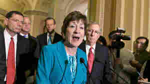 "Sen. Susan Collins, a Maine Republican, and fellow GOP senators accused the Obama administration of creating a ""manufactured crisis"" by furloughing FAA air traffic controllers and causing delayed flights."