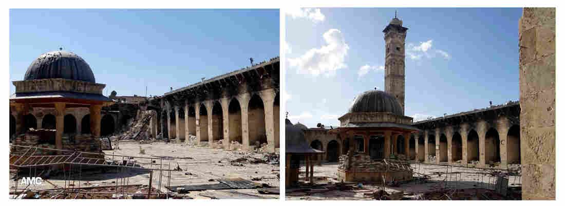 At left, the damaged Umayyad mosque in the northern city of Aleppo, Syria, on Wednesday; at right, the view of the mosque with the minaret intact on March 6.