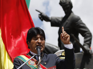 Bolivian President Evo Morales speaks last month at an event in La Paz to mark Sea Day, when th