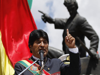 Bolivian President Evo Morales speaks last month at an event in La Paz to mark Sea Day, when the country lost access to the coast in a war with Chile more than 100 years ago. On Wednesday, Bolivia filed a lawsuit against Chile at the International Court of Justice to reclaim access to the Pacific Ocean.