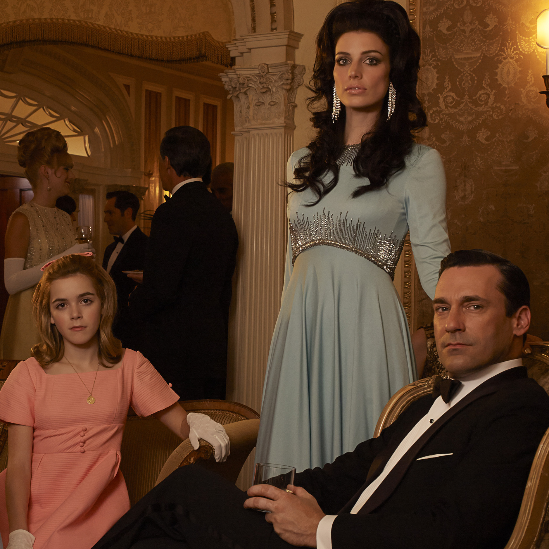 Mad Men's sixth season, which premiered April 7, revolves around (from left) Henry Francis (Christopher Stanley), Bobby Draper (Mason Vale Cotton), Betty Francis (January Jones), Gene Draper (Evan and Ryder Londo), Sally Draper (Kiernan Shipka), Megan Draper (Jessica Pare) and Don Draper (Jon Hamm).