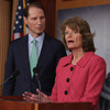 Senators Lisa Murkowski, an Alaska Republican, and Ron Wyden, an Oregon Democrat, discussing their new campaign finance legislation at an April 23, 2013 Capitol Hill news conference.