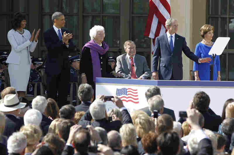 First lady Michelle Obama, President Obama, former first lady Barbara Bush, former President George H.W. Bush, former President George W. Bush and former first lady Laura Bush arrive at the dedication for the George W. Bush Presidential Center on the campus of Southern Methodist University in Dallas, Texas.