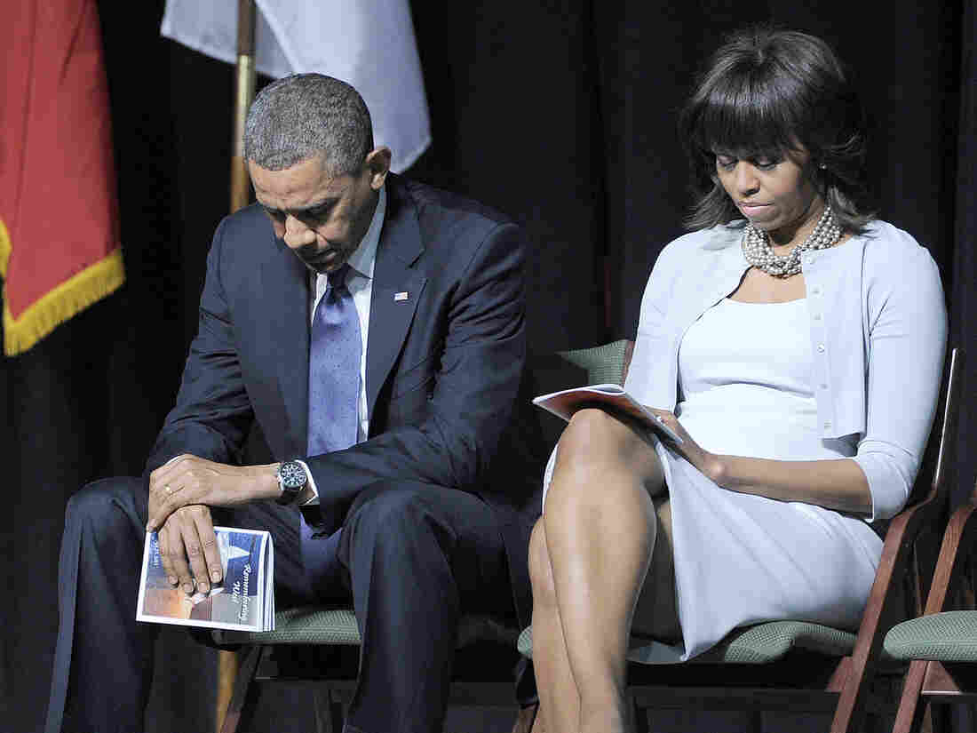 President Obama and first lady Michelle Obama attend a memorial service at Baylor University in Waco, Texas, on Thursday, for those killed in the April 17 explosion of a fertilizer plant.