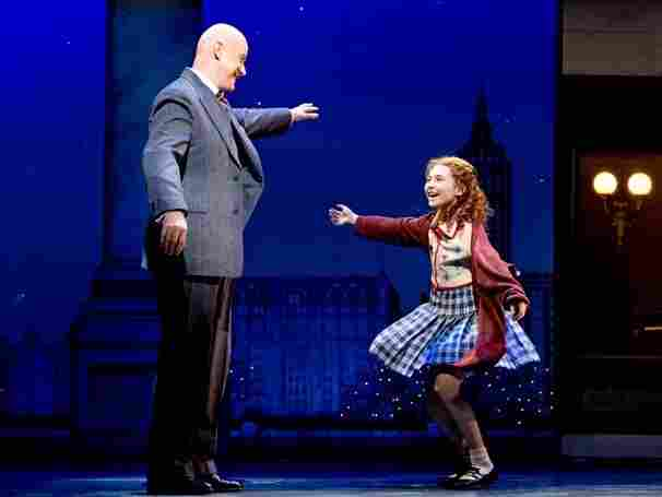 Anthony Warlow as Oliver Warbucks and Lilla Crawford as Annie in the recent Broadway revival of Annie. The show is almost a version of Oliver! in drag, Mondello said in his first-ever commentary for All Things Considered.