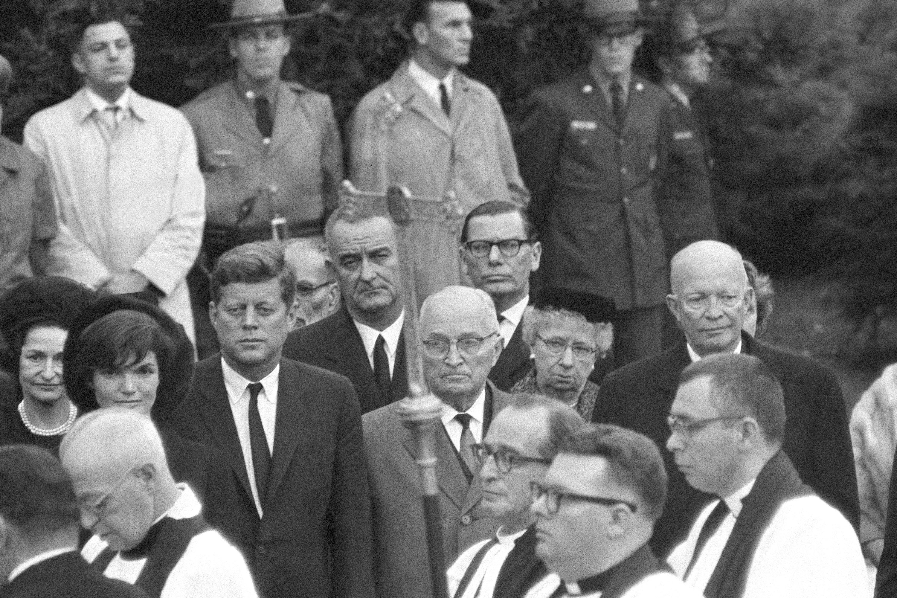 President John F. Kennedy is joined by two former presidents during services at the grave of former first lady Eleanor Roosevelt in the rose garden of the Roosevelt estate at Hyde Park, N.Y., on Nov. 10, 1962.
