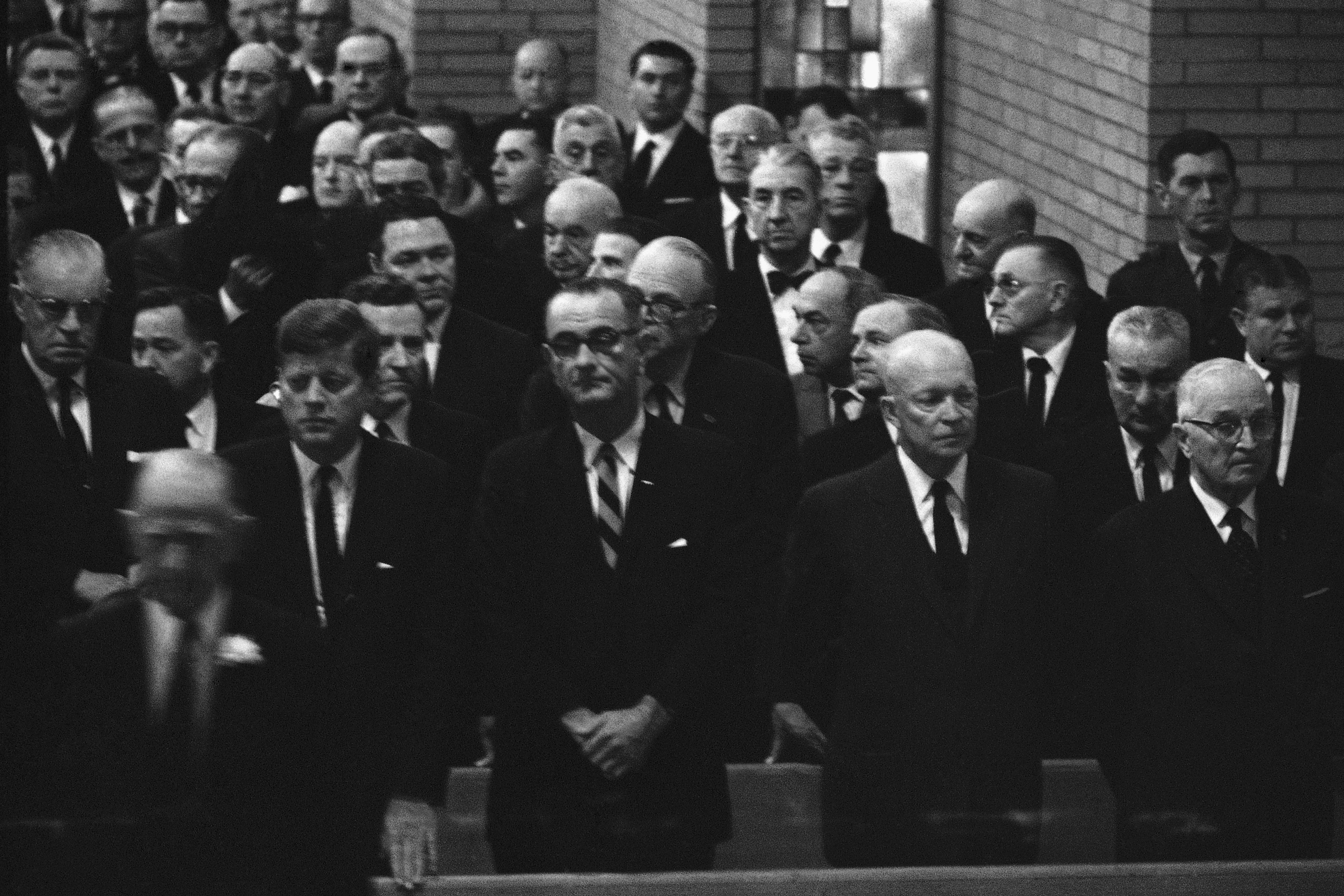 Attending the 1961 funeral services for former House Speaker Sam Rayburn are President John F. Kennedy, Vice President Lyndon Johnson, and former presidents Dwight D. Eisenhower and Harry S. Truman.