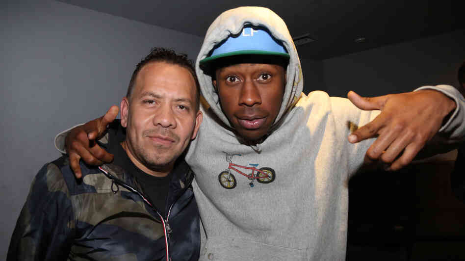 Elliott Wilson (left) and Tyler The Creator Tuesday night at the Highline Ballroom.