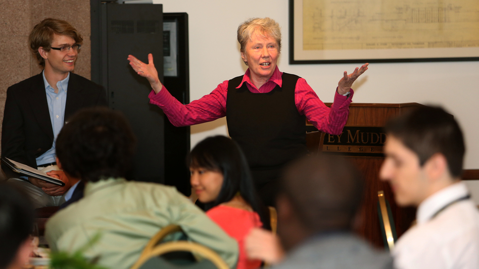 Harvey Mudd College President Maria Klawe talks to a group of newly admitted students on the campus in Claremont, Calif. Klawe has had a great deal of success getting more women involved in computing. (Courtesy of Harvey Mudd College)