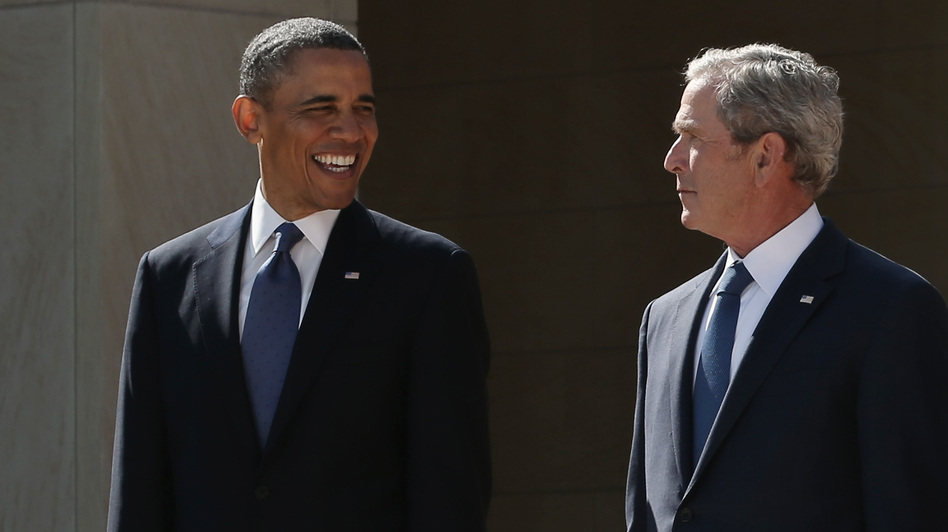 President Obama and former President George W. Bush at the dedication of the George W. Bush library in Dallas. (Getty Images)