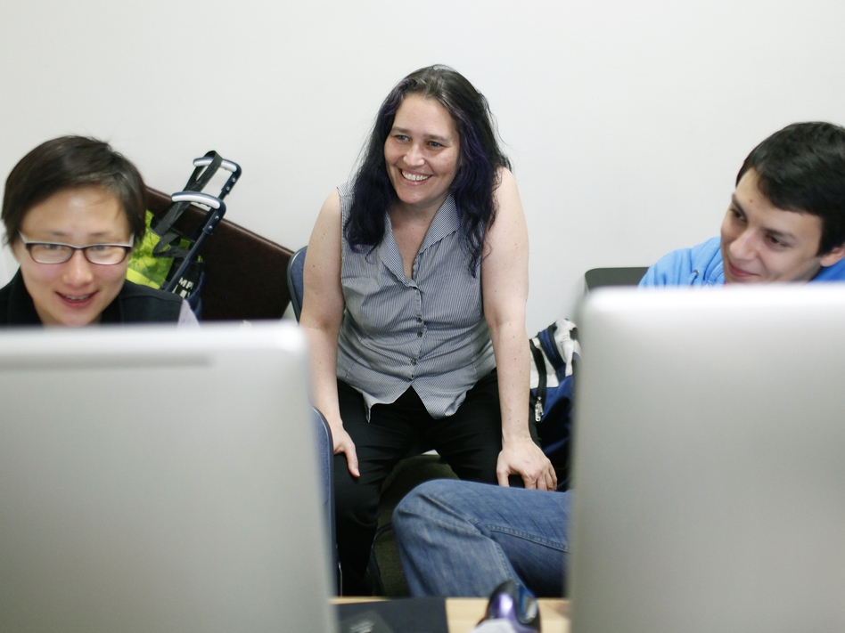 Sarah Allen works with interns Lori Hsu (left) and Fito von Zastrow at the Blazing Cloud offices in San Francisco.