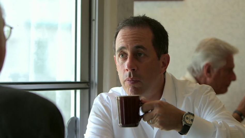"In an episode of <em>Comedians In Cars Getting Coffee</em> called ""Larry Eats A Pancake,"" Jerry Seinfeld has coffee with Larry David. (YouTube)"
