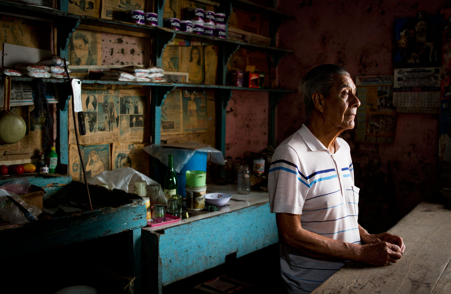 Adriano Leon Bardales has lived in El Ayllu, where he runs a general store, for 46 years. He will move to a nearby neighborhood where he has found a house to rent with space to open another store.