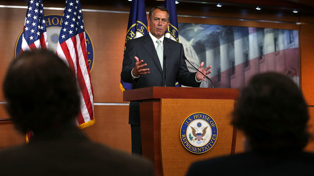 House Speaker John Boehner speaks to the media during his weekly news conference on Capitol Hill on April 18. (Getty Images)
