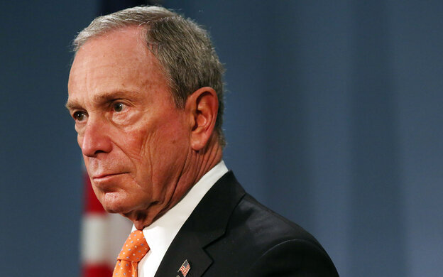 "New York City Mayor Michael Bloomberg speaks at a news conference at City Hall  on April 25. The billionaire mayor has been spending from his personal fortune to provide a ""political counterweight to the NRA,"" his policy adviser says"