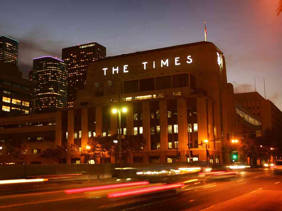 The Tribune Co. is considering the sale of all of its daily newspapers, including the Chicago Tribune, The Baltimore Sun and the Los Angeles Times, whose building is pictured above.