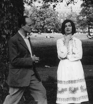 Edna O'Brien is pictured here with her husband, the writer Ernest Gebler, in London in 1959. O'Brien's first novel, The Country Girls, was published a year later.