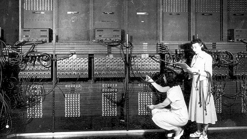 Ester Gerston and Gloria Ruth Gordon, early programmers working on the ENIAC computer in 1946. (U.S. Army)