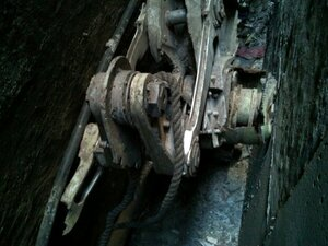 A piece of commercial landing gear was found between two buildings in lower Ma