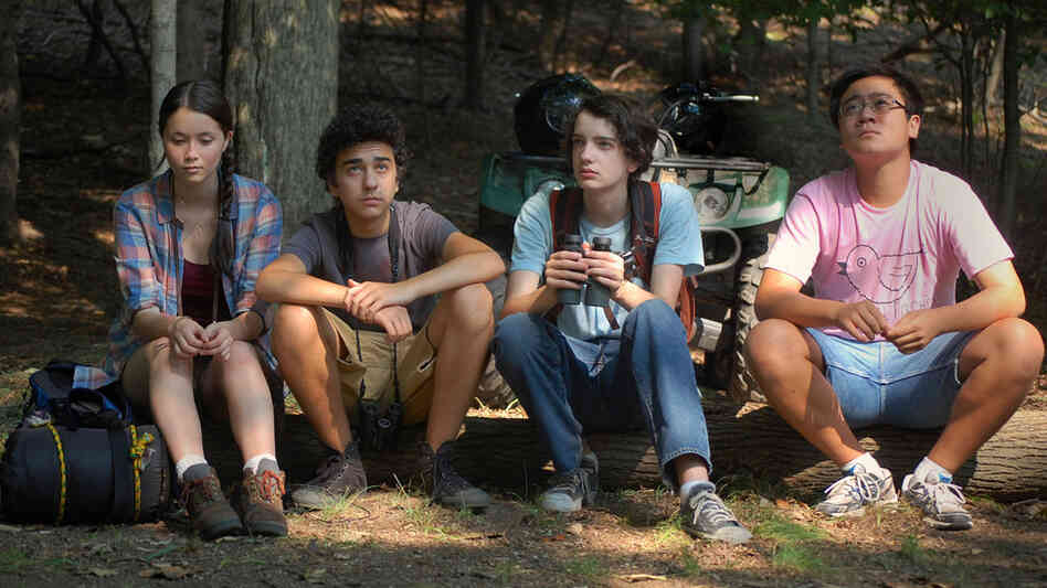 A ragtag group of amateur birders pursue a rare North American duck in A Birder's Guide to Everything. Pictured (from left): Katie Chang, Alex Wolff, Kodi Smit-McPhee and Michael Chen.