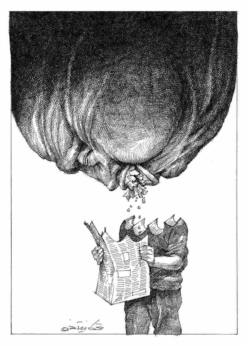 "This Touka Neyestani cartoon, ""Media and Power,"" appears in Sketches of Iran alongside an essay by Iranian journalist Nooshabeh Amiri. Amiri writes about the perils of reporting under Ayatollah Khomeini in the late '70s."