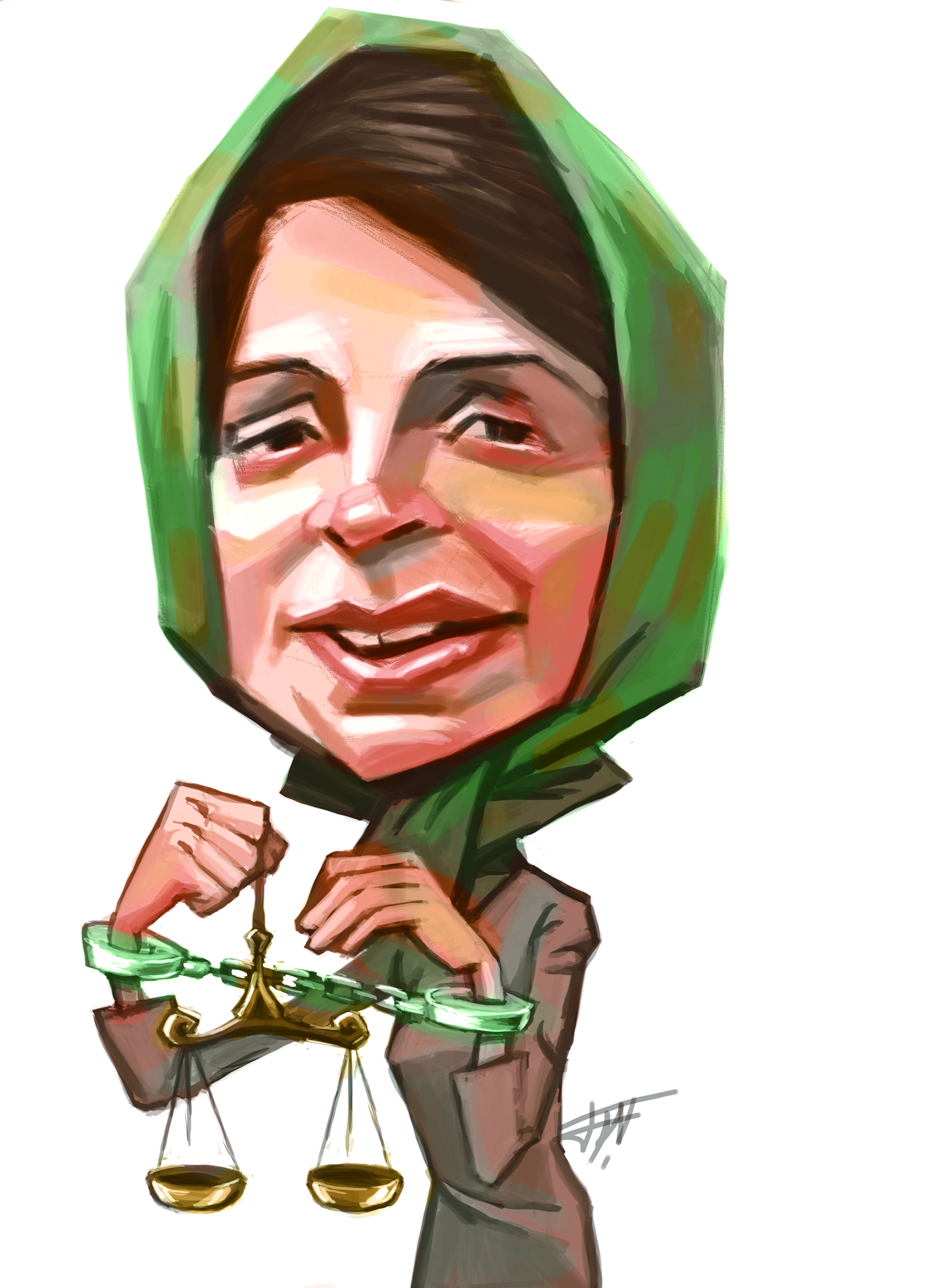 """Nasrin Sotoudeh"" by Afshin Sabouki: Sotoudeh is an Iranian human rights lawyer and an advocate for women, children and prisoners of conscience. She is serving a six-year sentence for charges including ""membership in the Defenders of Human Rights Center."""