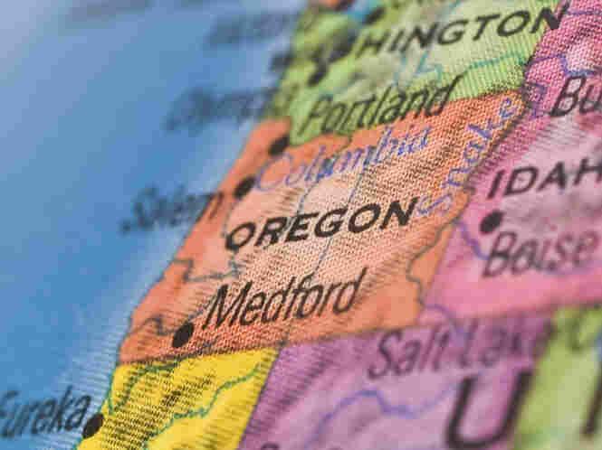 Oregon on a globe