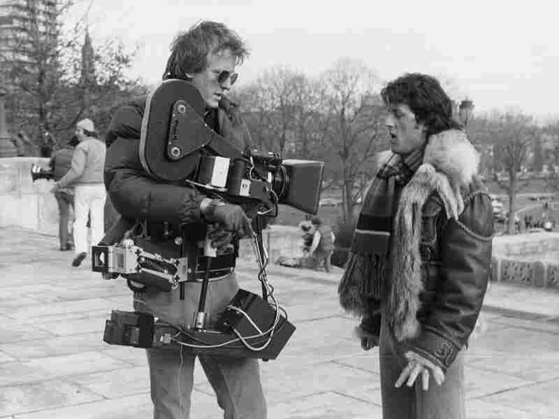 Garrett Brown with Sylvester Stallone during the filming of Rocky II.