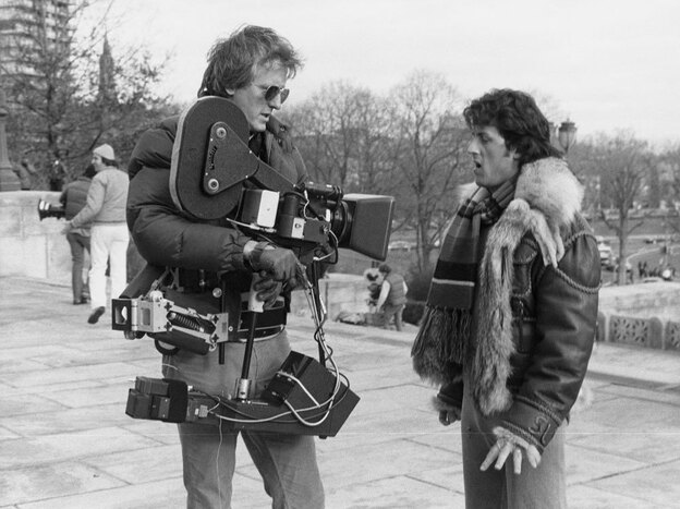 Garrett Brown with Sylvester Stallone during the filming of Rocky II. (Courtesy Garrett Brown)