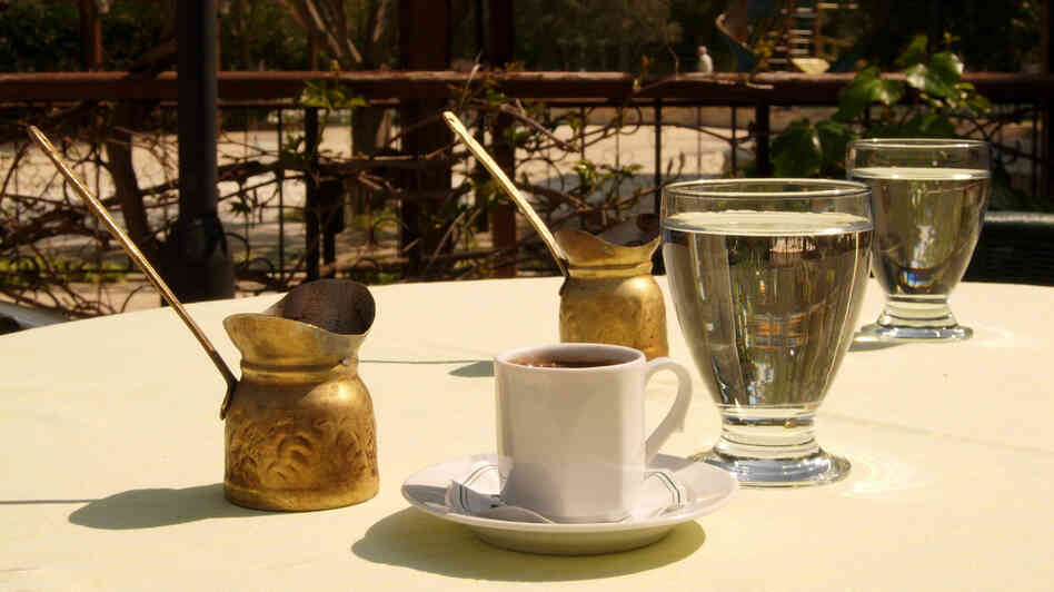 Throughout the region that was once the Ottoman empire, people make coffee pretty much the same way: using coffee beans ground into a fine powder, then boiled in a little brass pot that the Turks call a cezve.