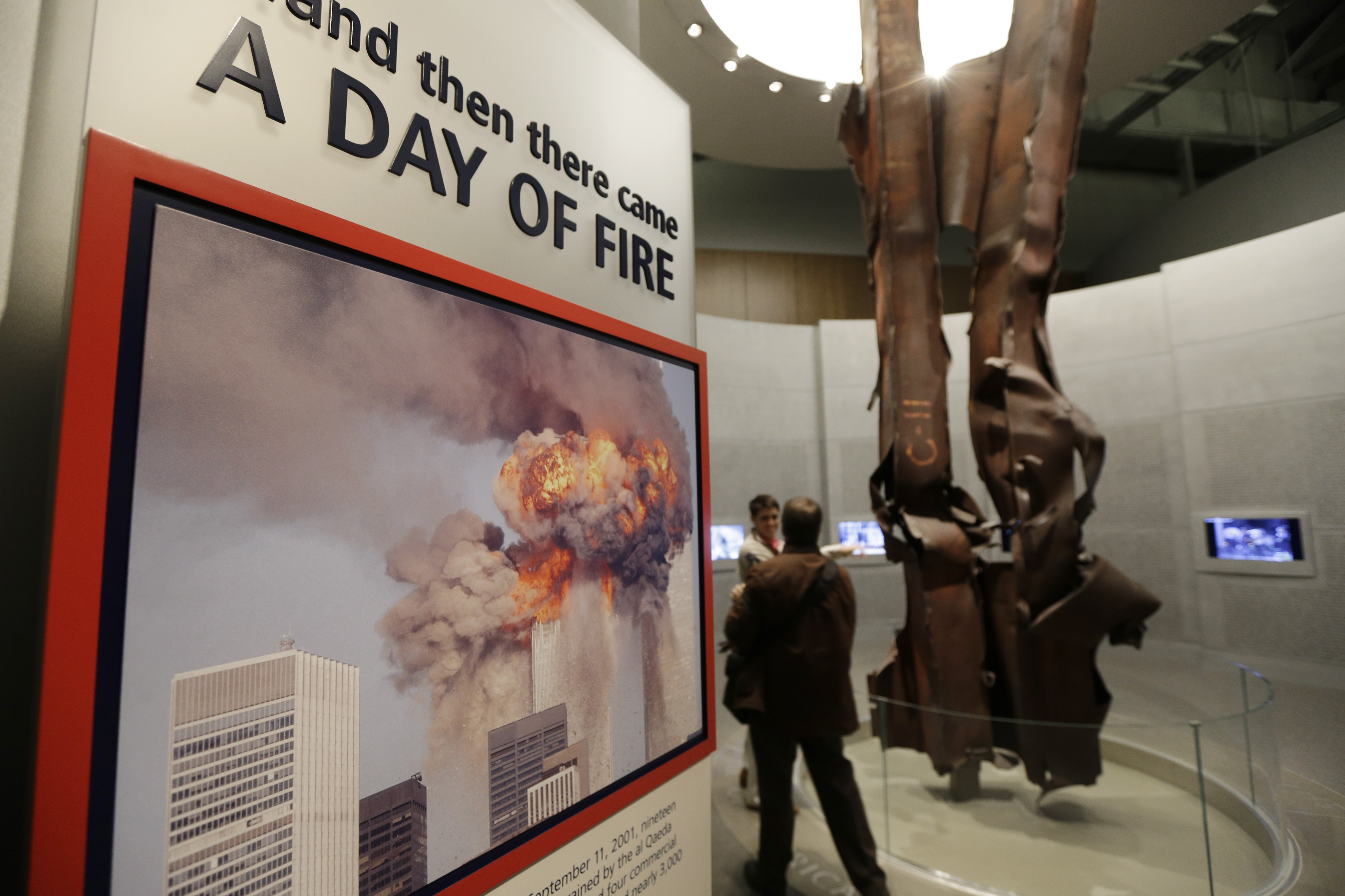 Beams damaged at New York's World Trade Center during the terrorist attacks on Sept. 11, 2001 are on display.