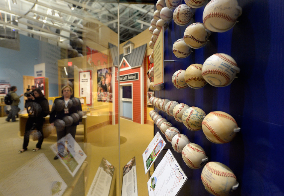 President George W. Bush's baseball collection is among the exhibits at the library. (Getty Images)