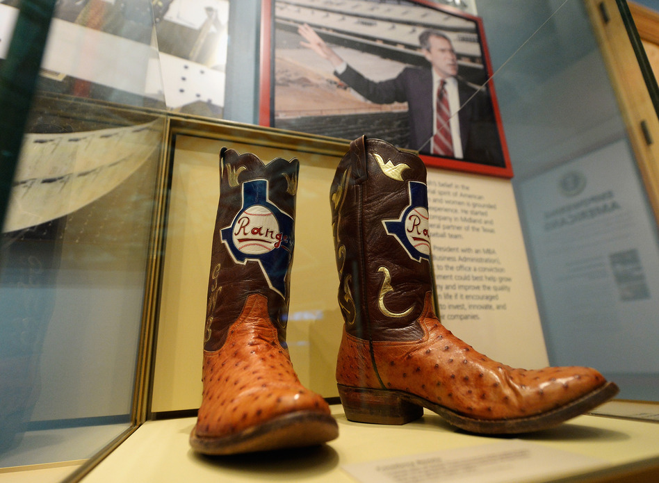 Boots commemorate George W. Bush's tenure as general managing partner of the Texas Rangers. (Getty Images)