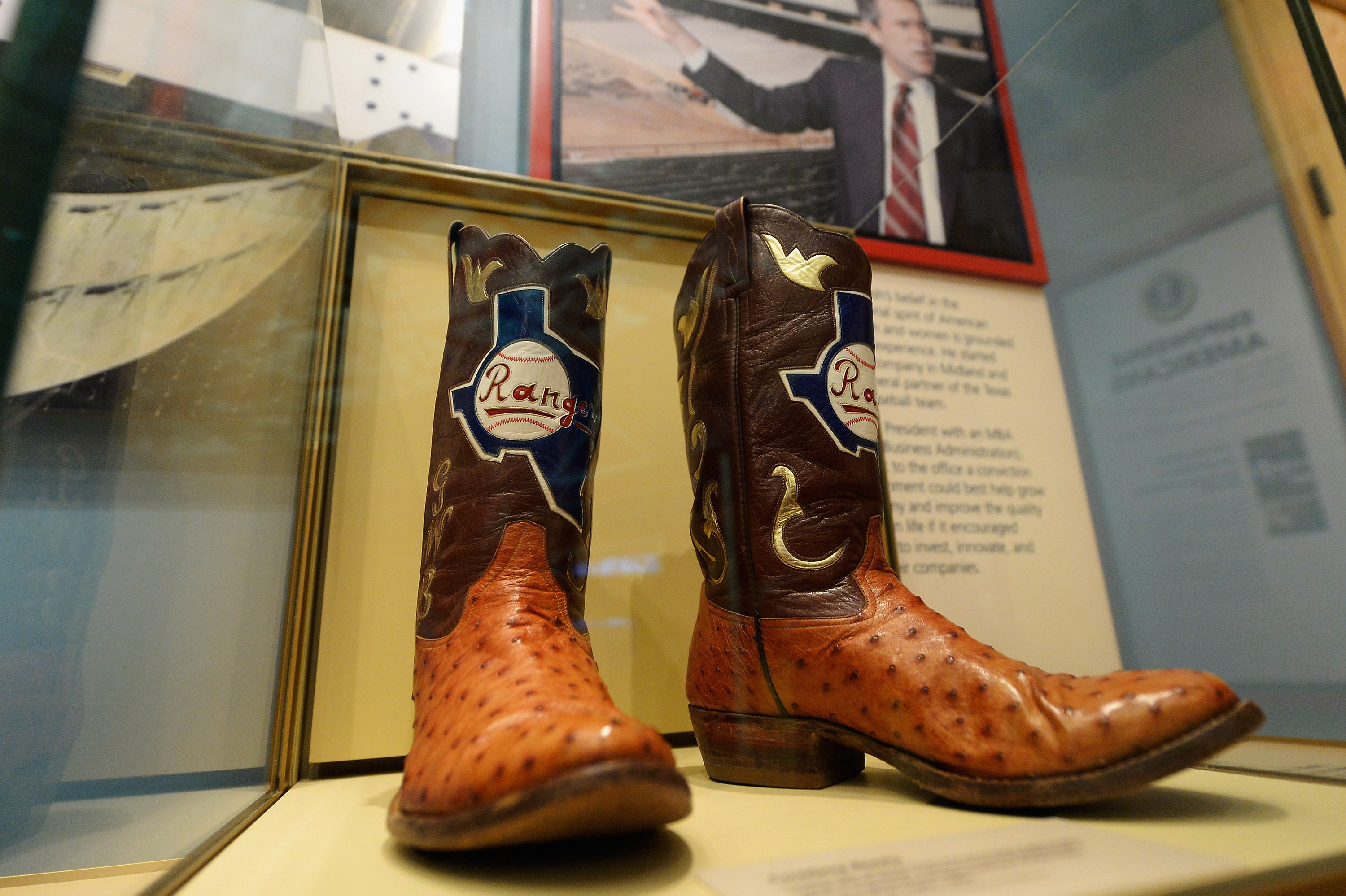 Boots commemorate George W. Bush's tenure as general managing partner of the Texas Rangers.