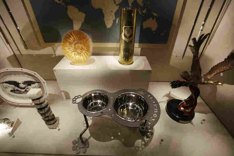 An ornate dog dish is among the gifts given to President George W. Bush that are on display at the library.